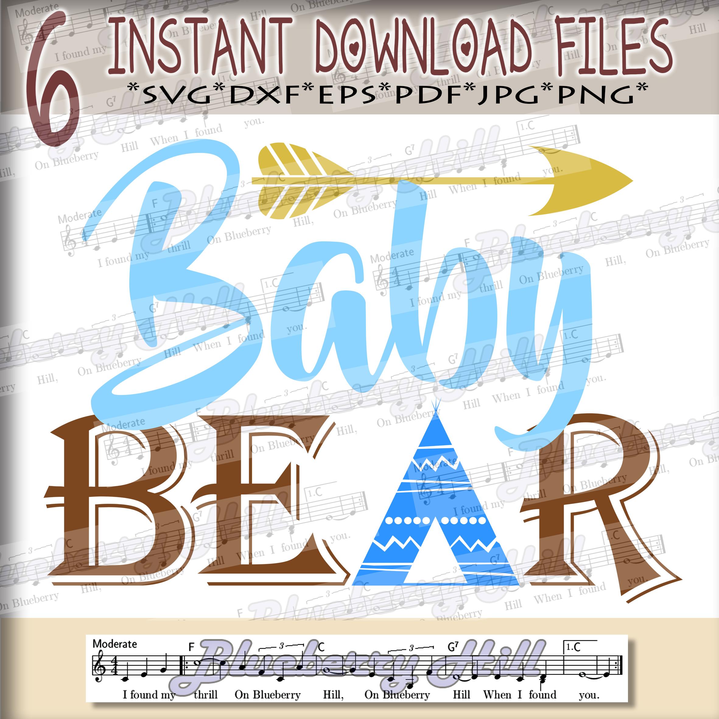 Baby bear SVG - Baby bear svg digital -Baby bear with Arrow example image 3