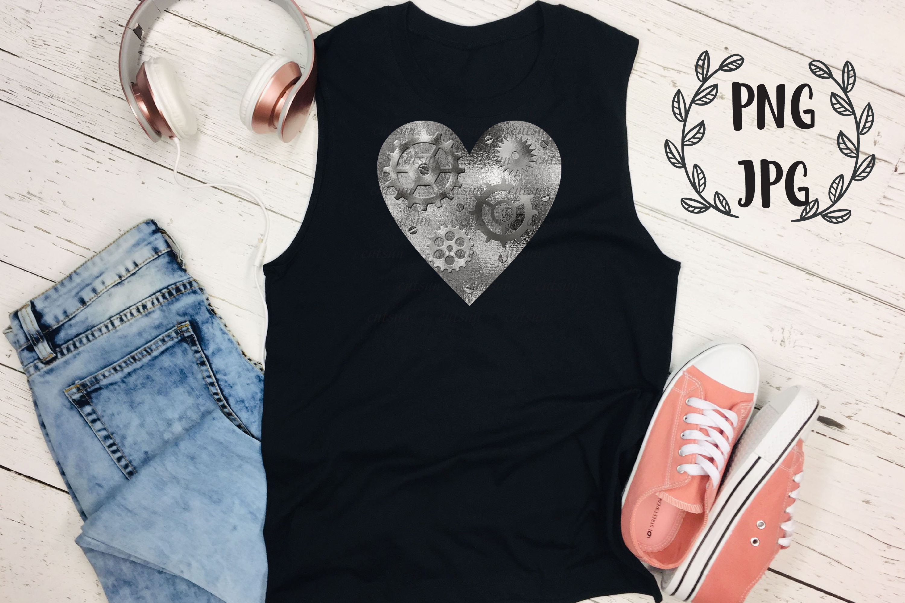 Steampunk Heart Silver sublimation design example image 3