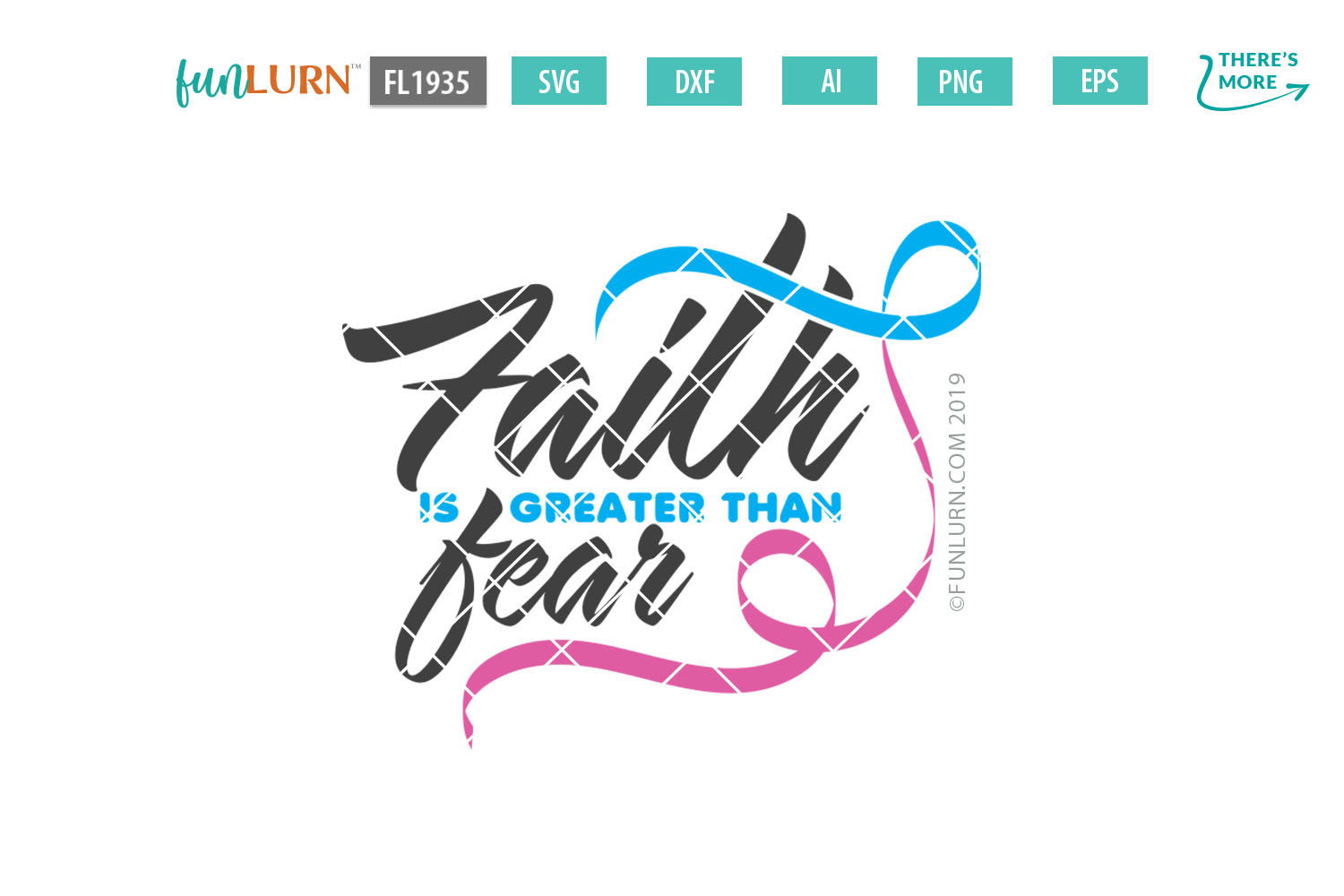 Faith is Greater Than Fear Blue and Pink Ribbon SVG Cut File example image 2