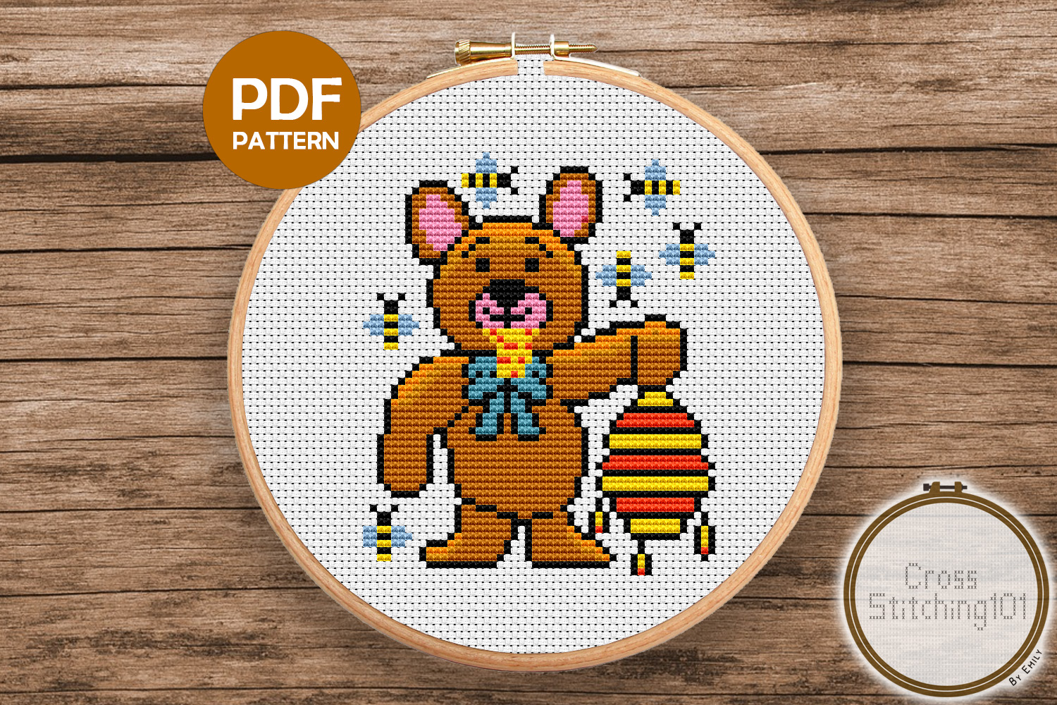 Bear Eating Honey Cross Stitch Pattern -Instant Download PDF example image 1