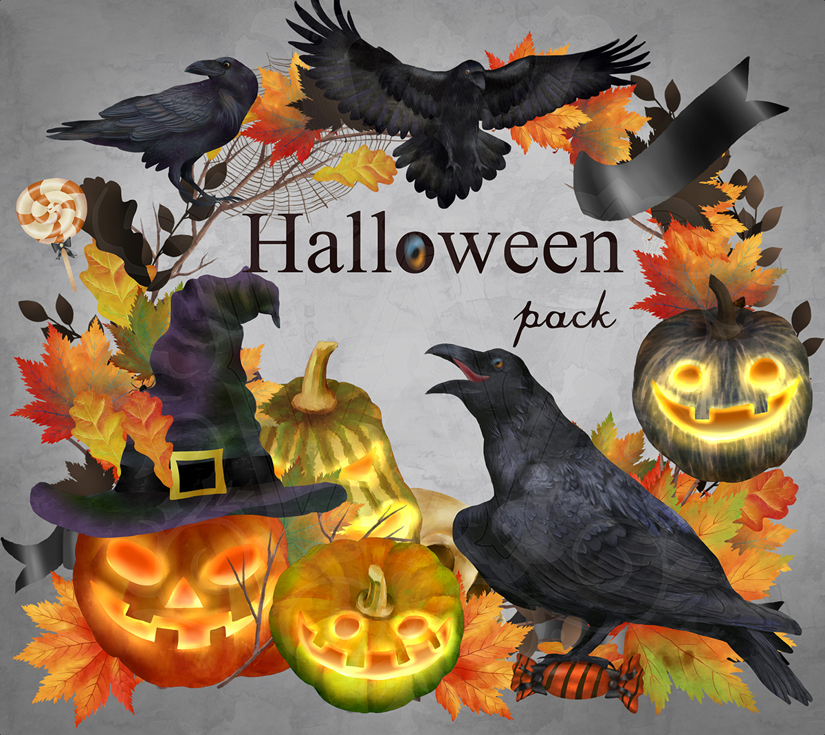 Halloween clipart set with raven pumpkin fall leaves sweets example image 4