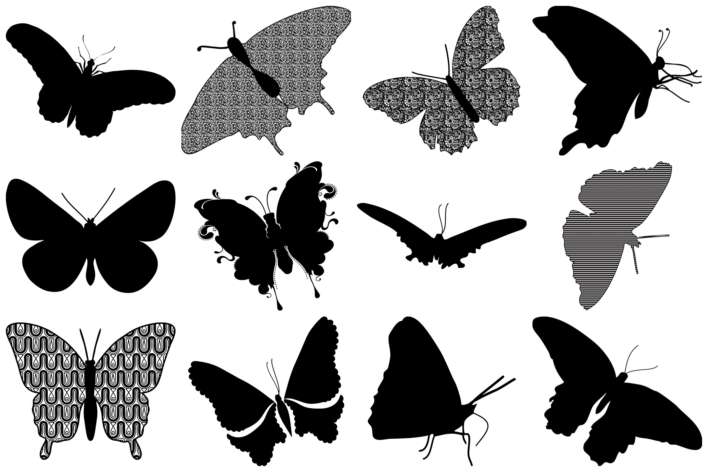 Butterfly Silhouettes AI EPS PNG example image 3