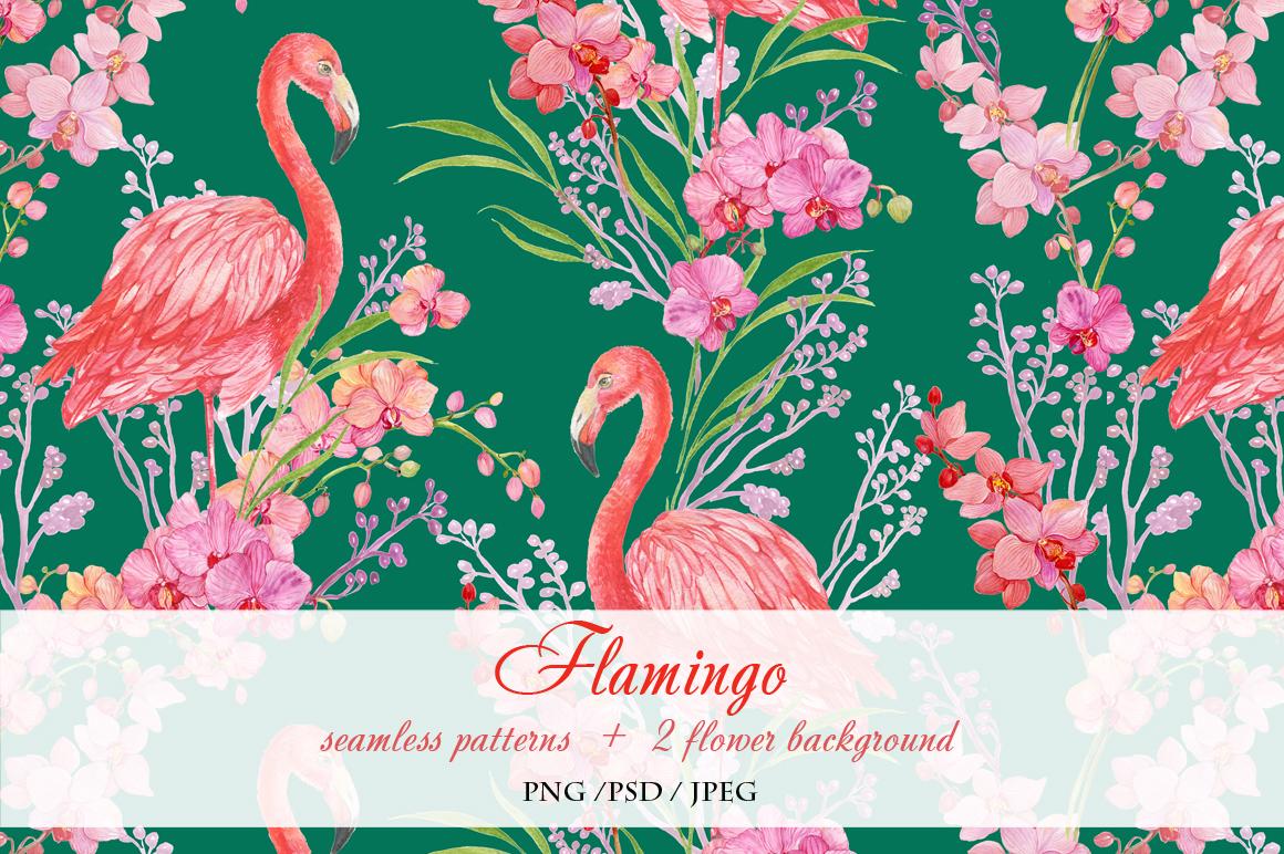 Flamingo seamless patterns example image 3