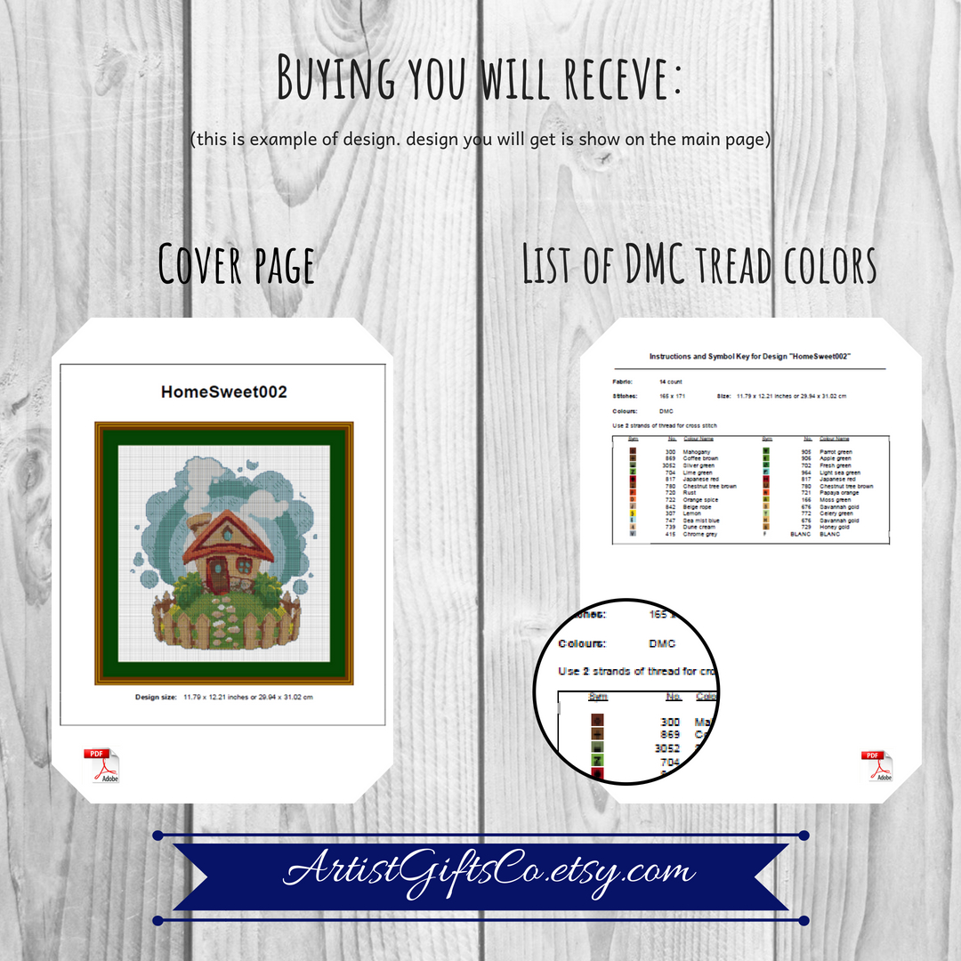 Small Great Purple dragon, Cross stitch pattern PDF example image 3