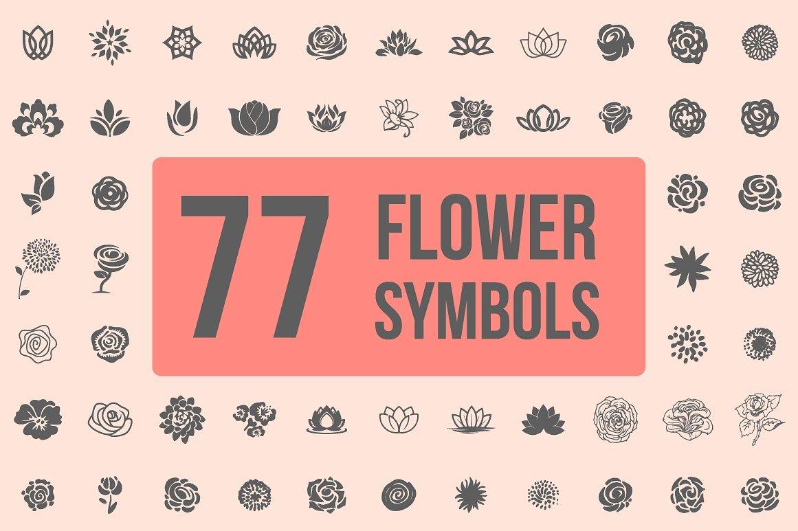 Pack of 77 decorative flower symbols example image 1
