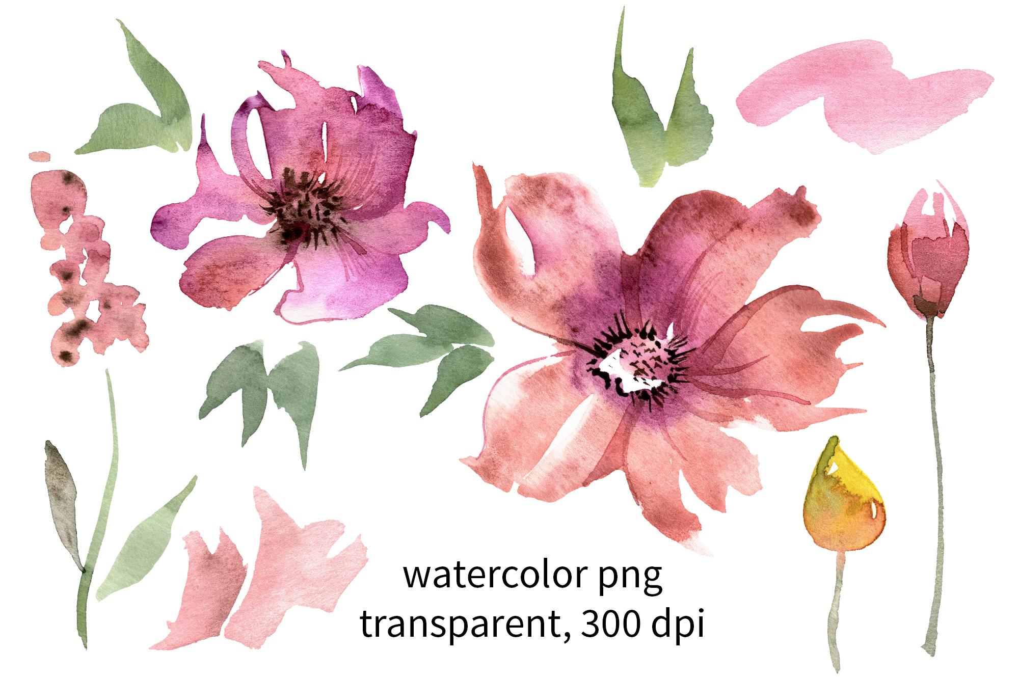 Cute Watercolor Flowers example image 3