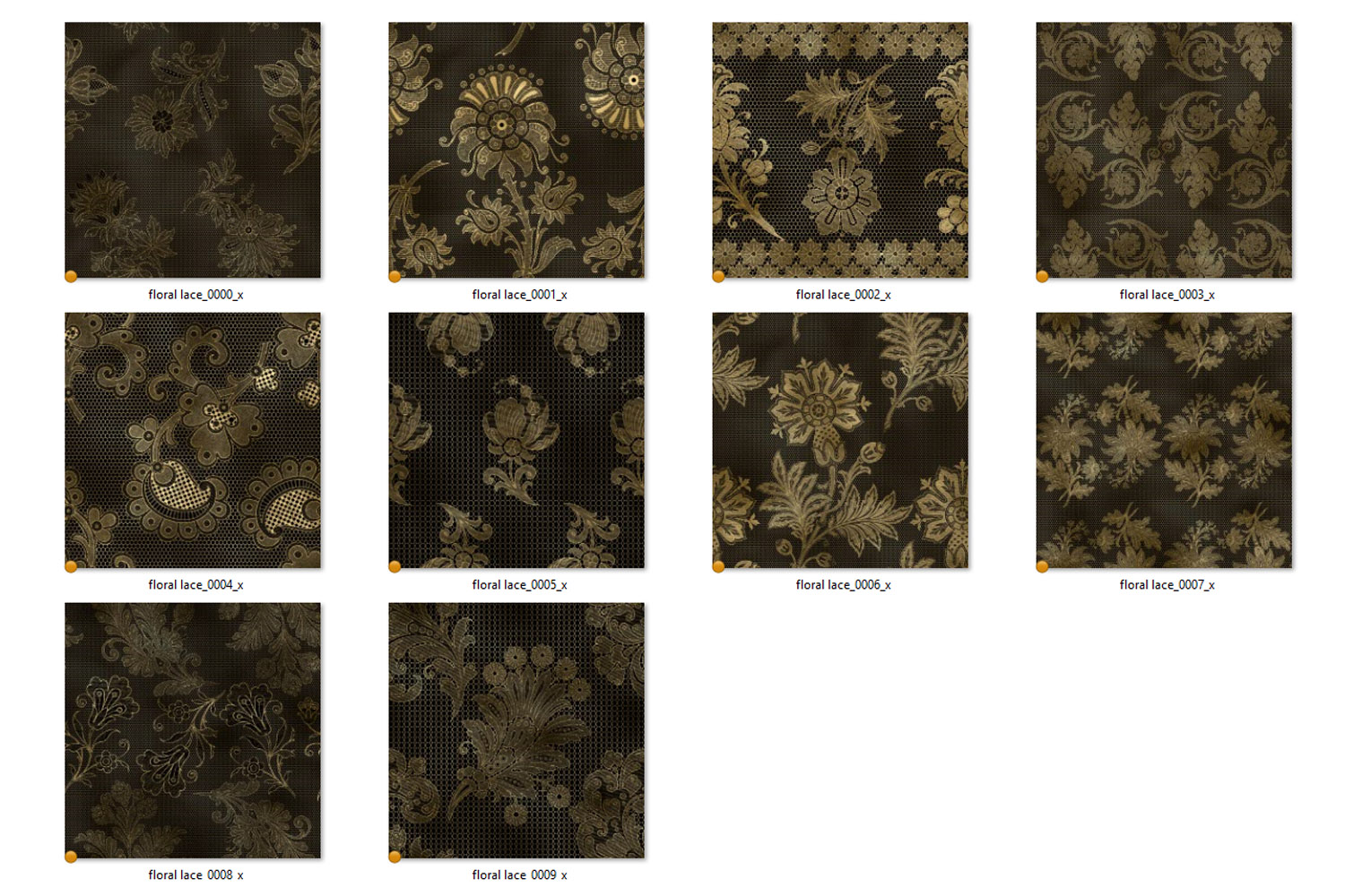Black and Gold Floral Lace Digital Paper example image 4