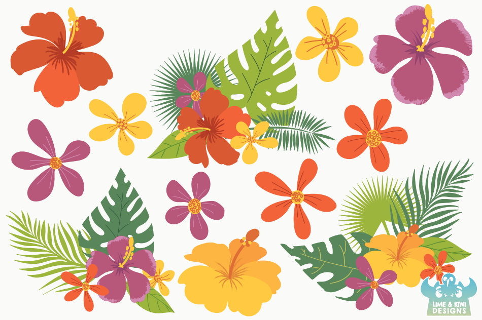 Tropical Flowers Clipart, Instant Download Vector Art example image 2