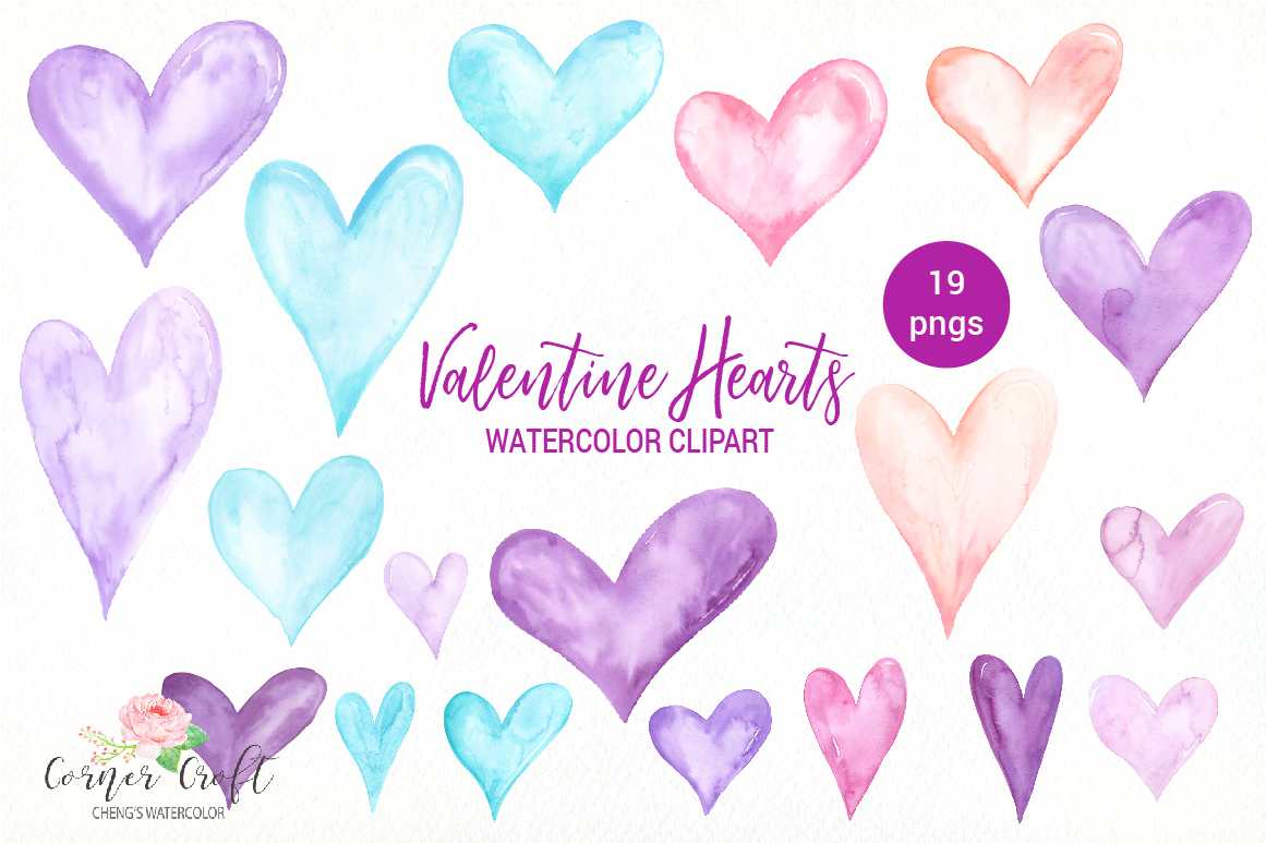 Watercolor Valentine Hearts Clipart example image 4
