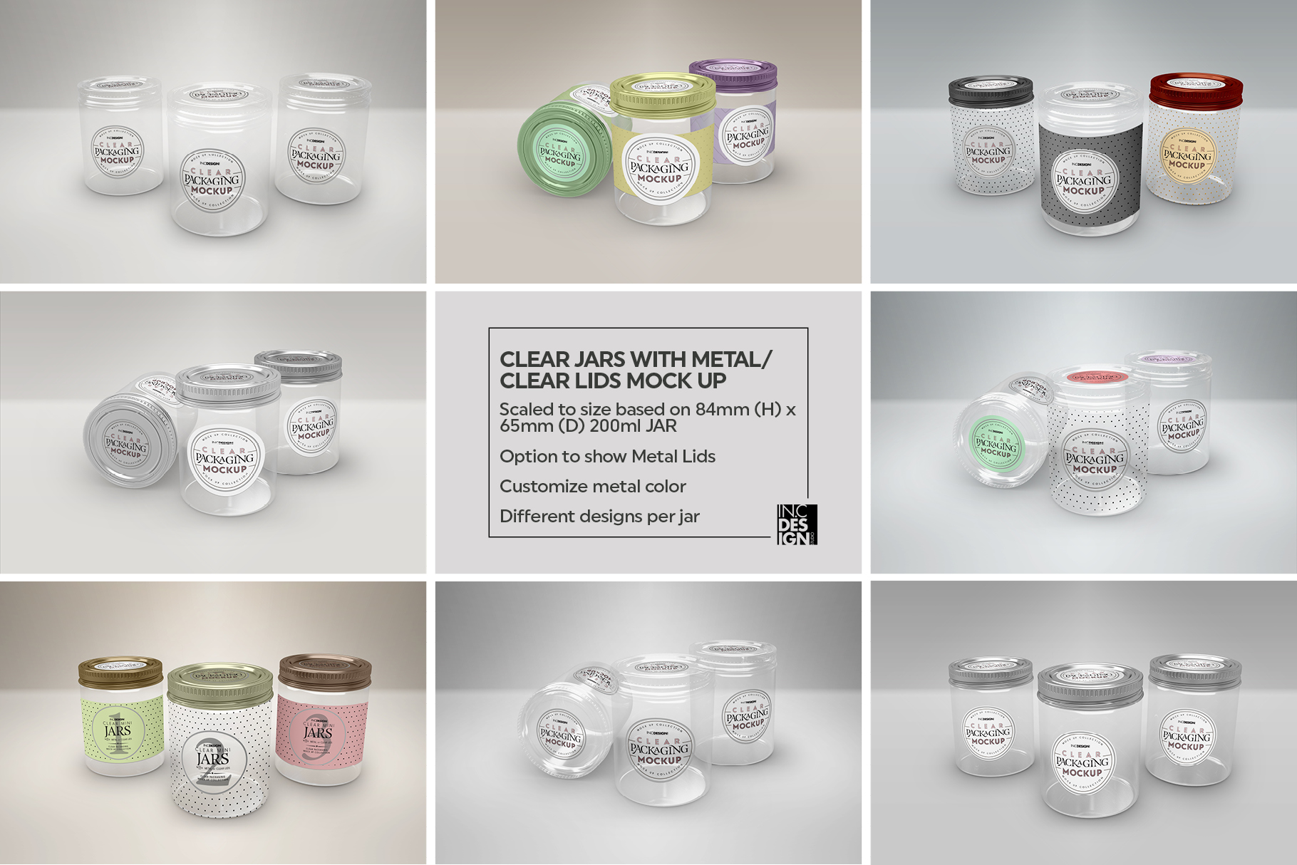Clear Jars with Metal /Clear Lids Mockup example image 3