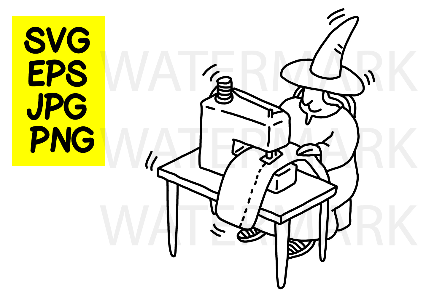 Witch Sewing- SVG-EPS-JPG-PNG example image 1
