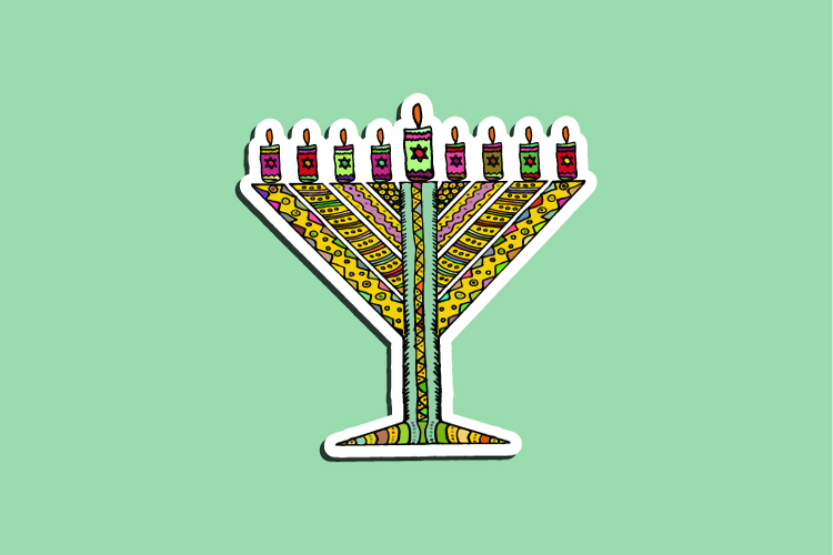 Set of 23 stickers for the Jewish holiday of Hanukkah example image 2
