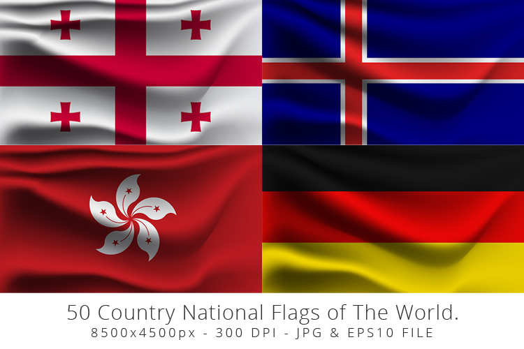 Realistic waving 50 Country National Flags of The World. example image 6