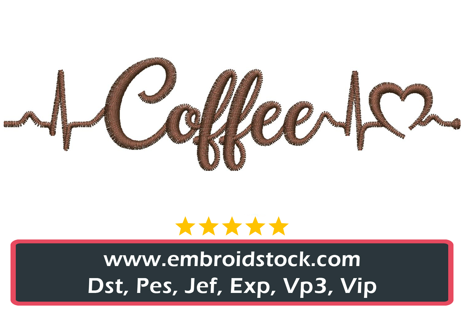 Coffee Love Embroidery Design example image 1