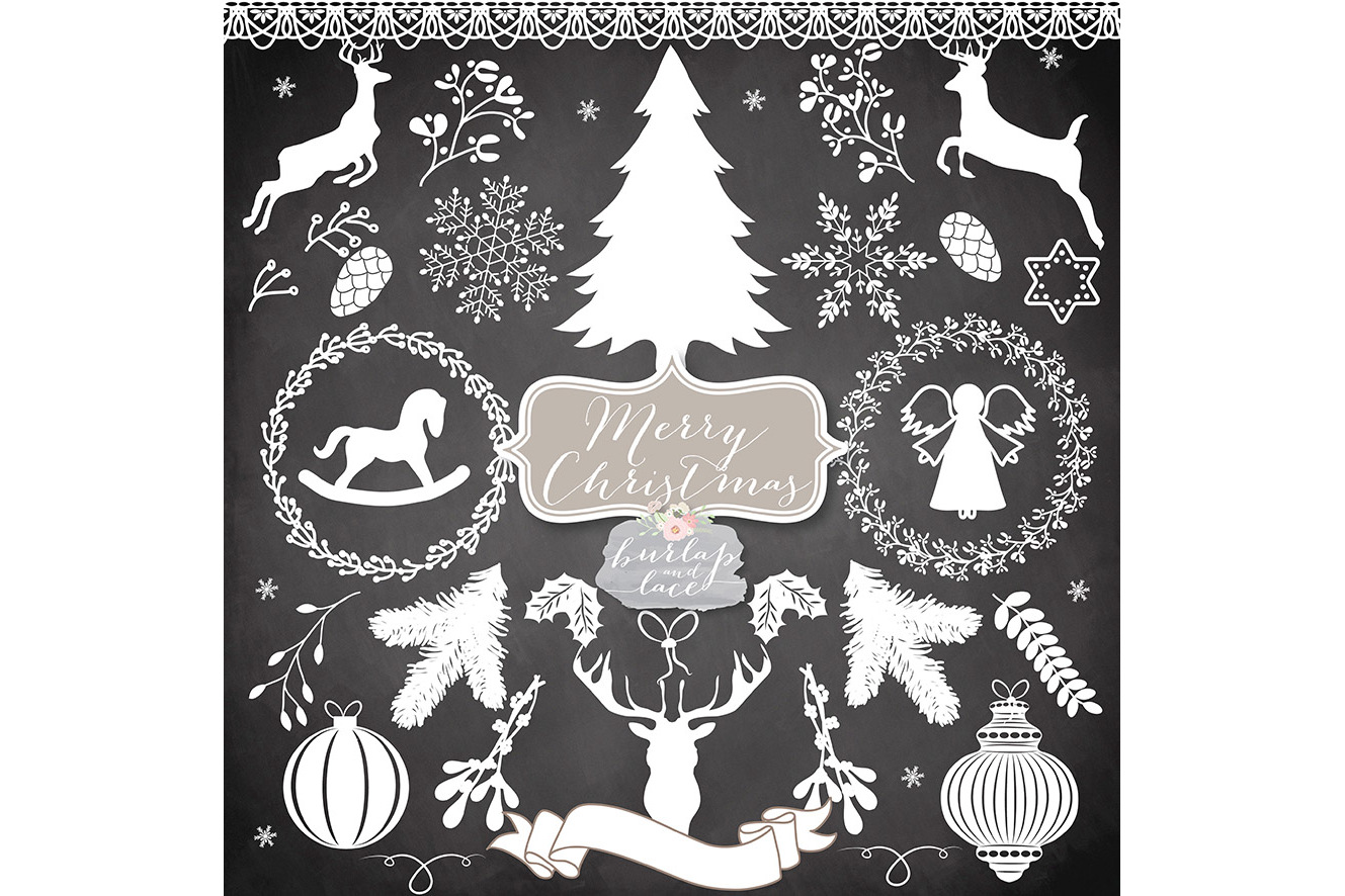 Vector white rustic hristmas Cliparts example image 3