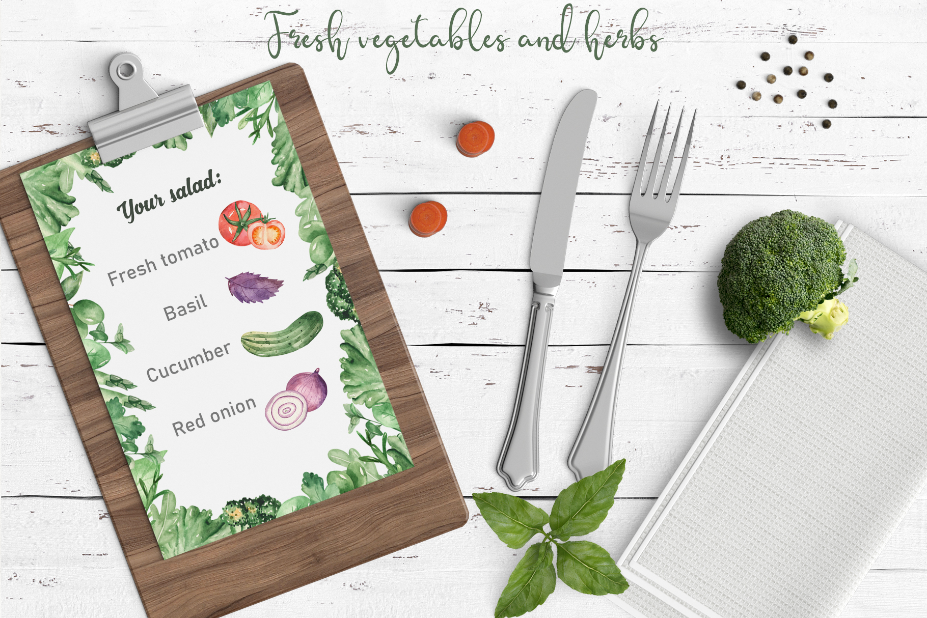 Vegetables and herbs Watercolor collection Clipart example image 2