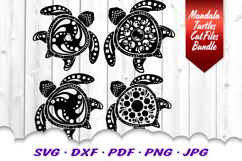BIG Mandala Sea Turtle SVG DXF Cut Files Bundle example image 7