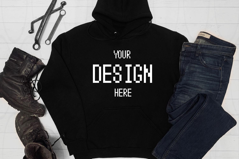 Black Hoodie Shirt Apparel Mockup Hooded Sweatshirt mock-up example image 1