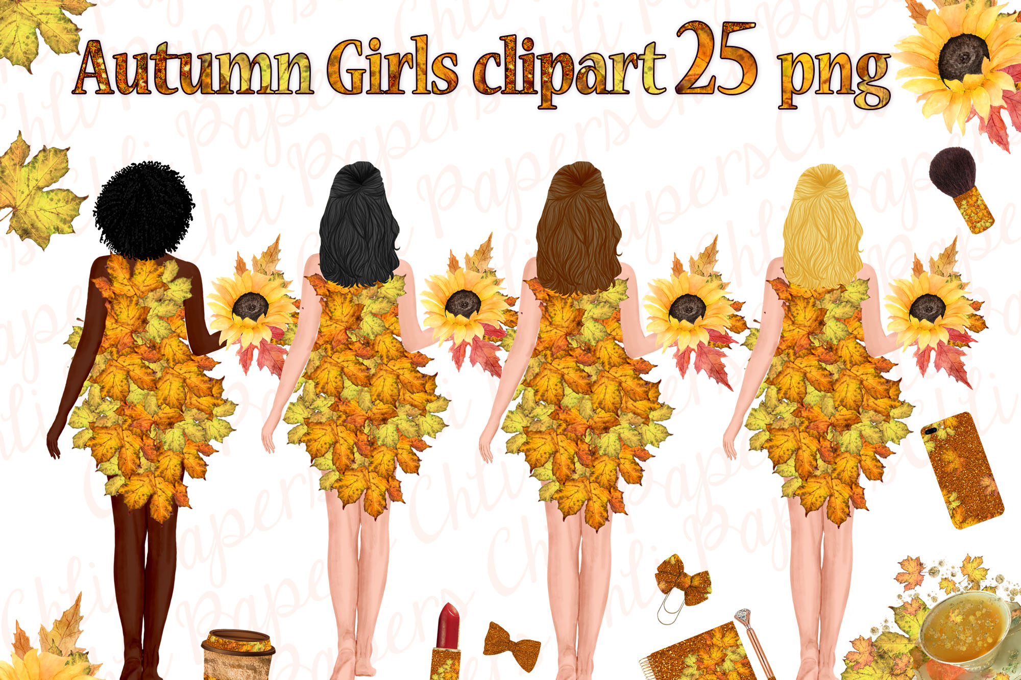 Autumn Girls Clipart, Planner girls,Thanksgiving clipart, example image 1