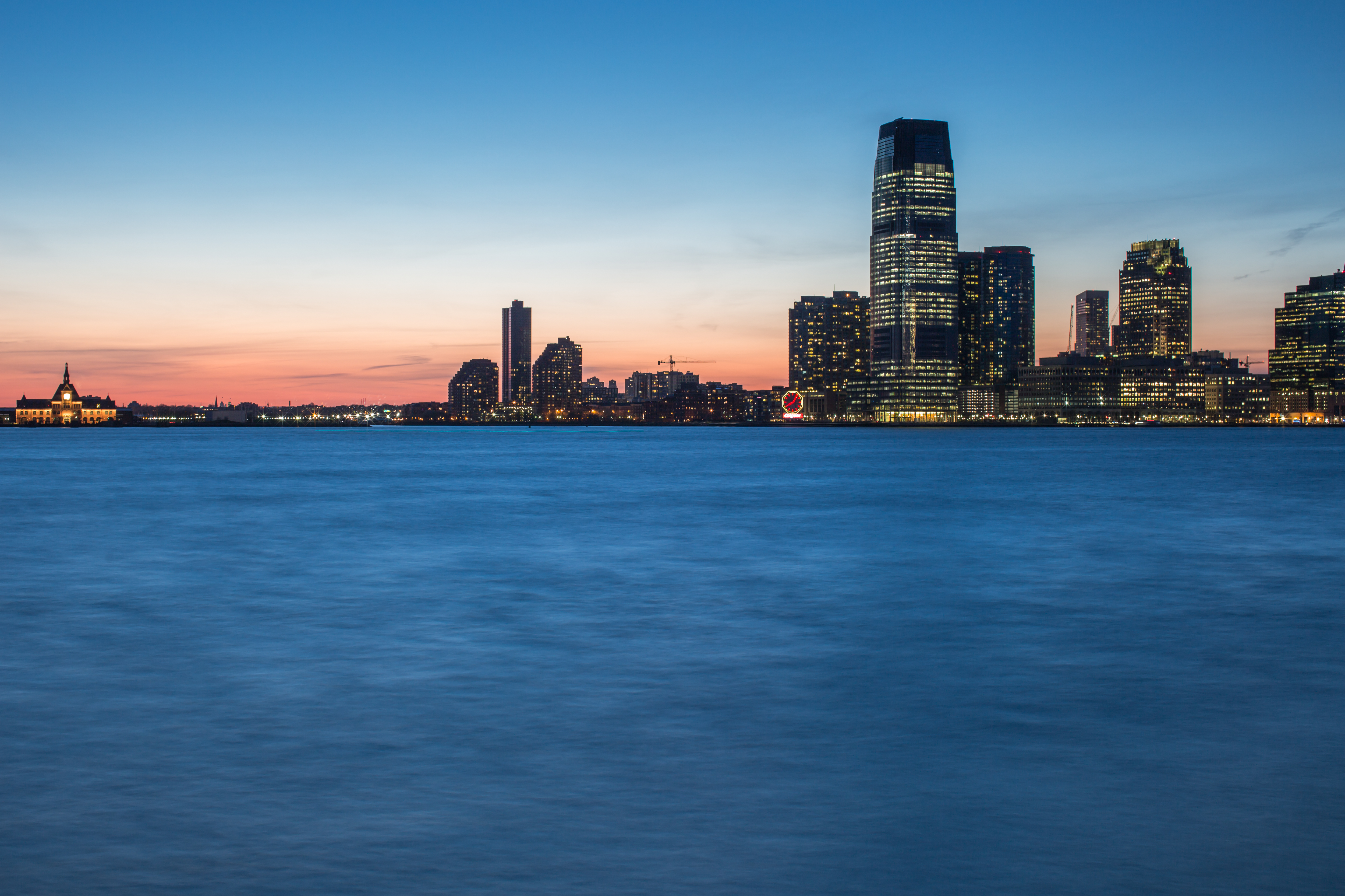 View on jersey city during sunset	 example image 1