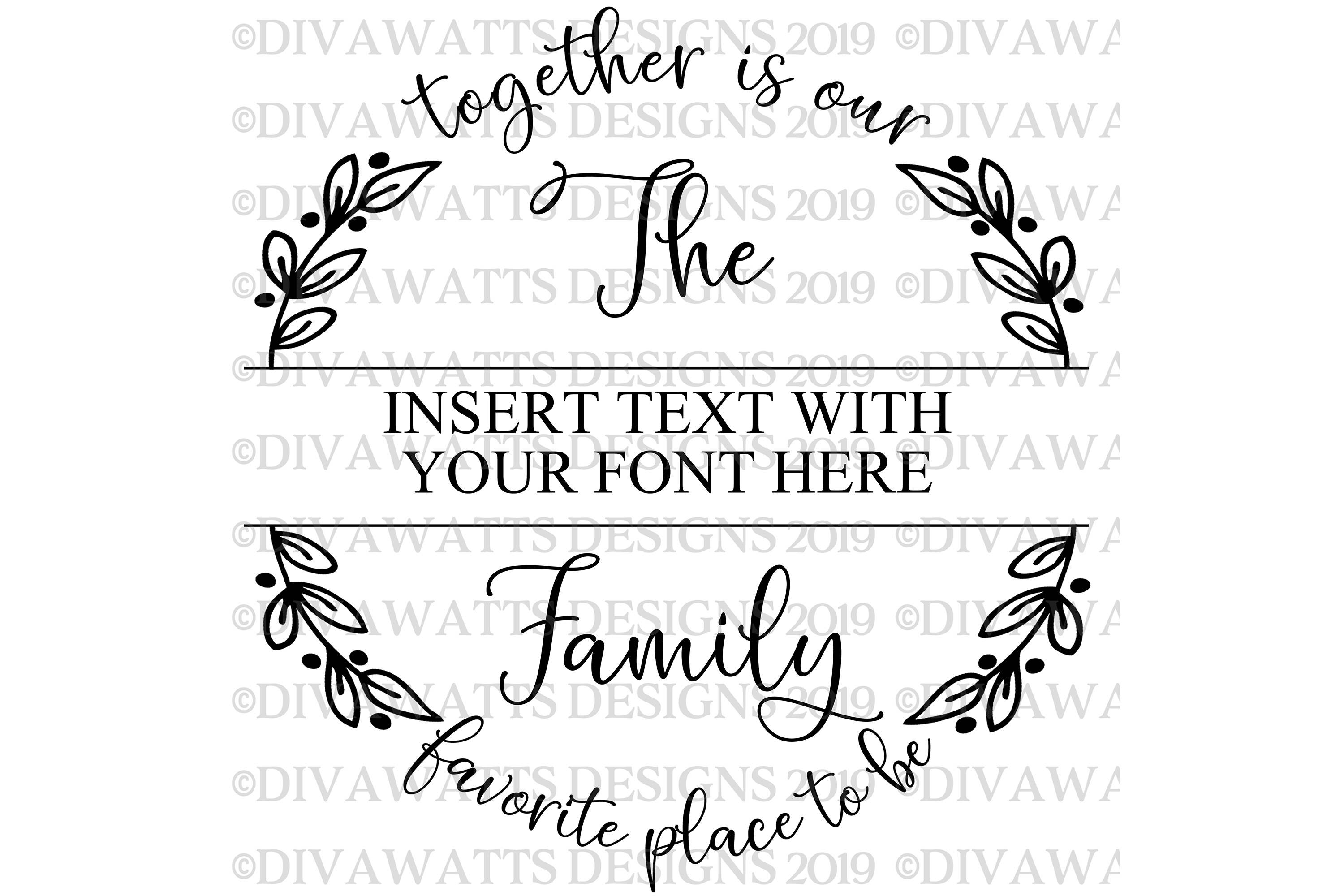 Together Is Our Favorite Place To Be Family Name Sign SVG example image 6