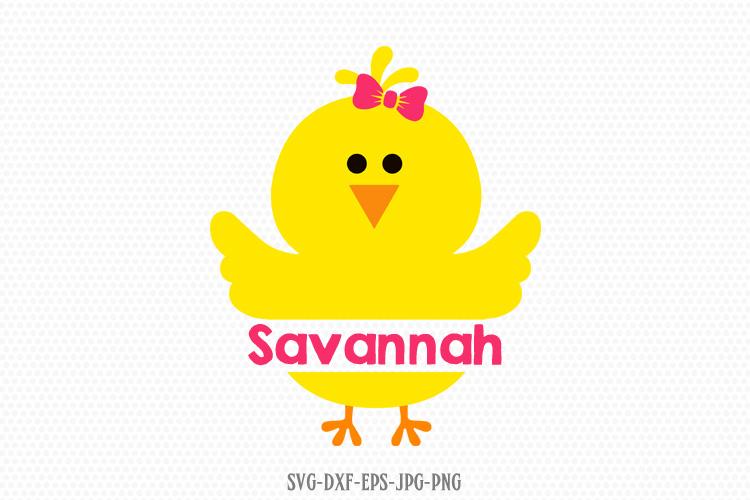 Girl Chick monogram frame Svg, Baby Chicken Svg, Easter svg example image 1