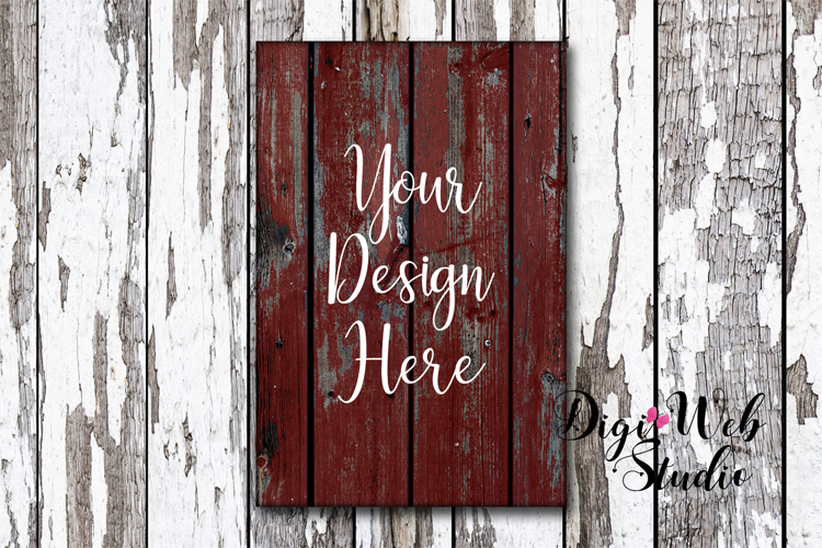 Wood Sign Mockup - Rustic Red Wood Sign on Distressed Wood example image 1