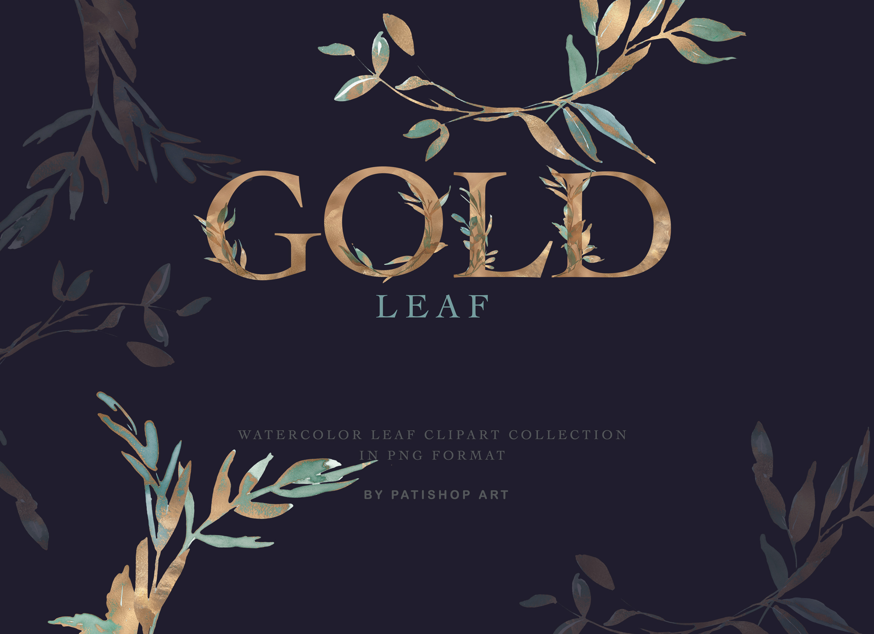 Gold Leaf Watercolor Alphabet & Leaf Clipart Collection example image 2