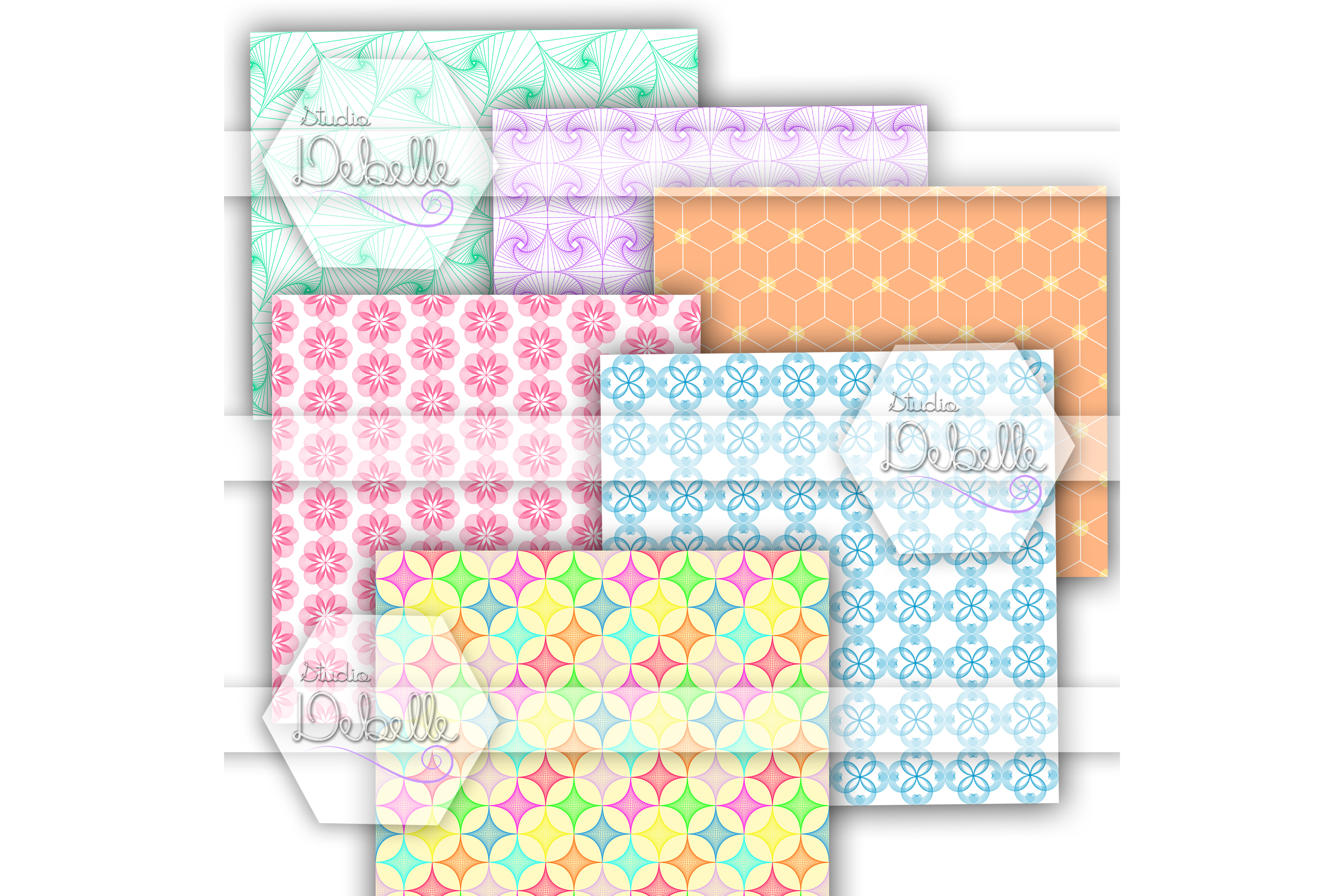 Mathemagical digital papers seamless pattern example image 2