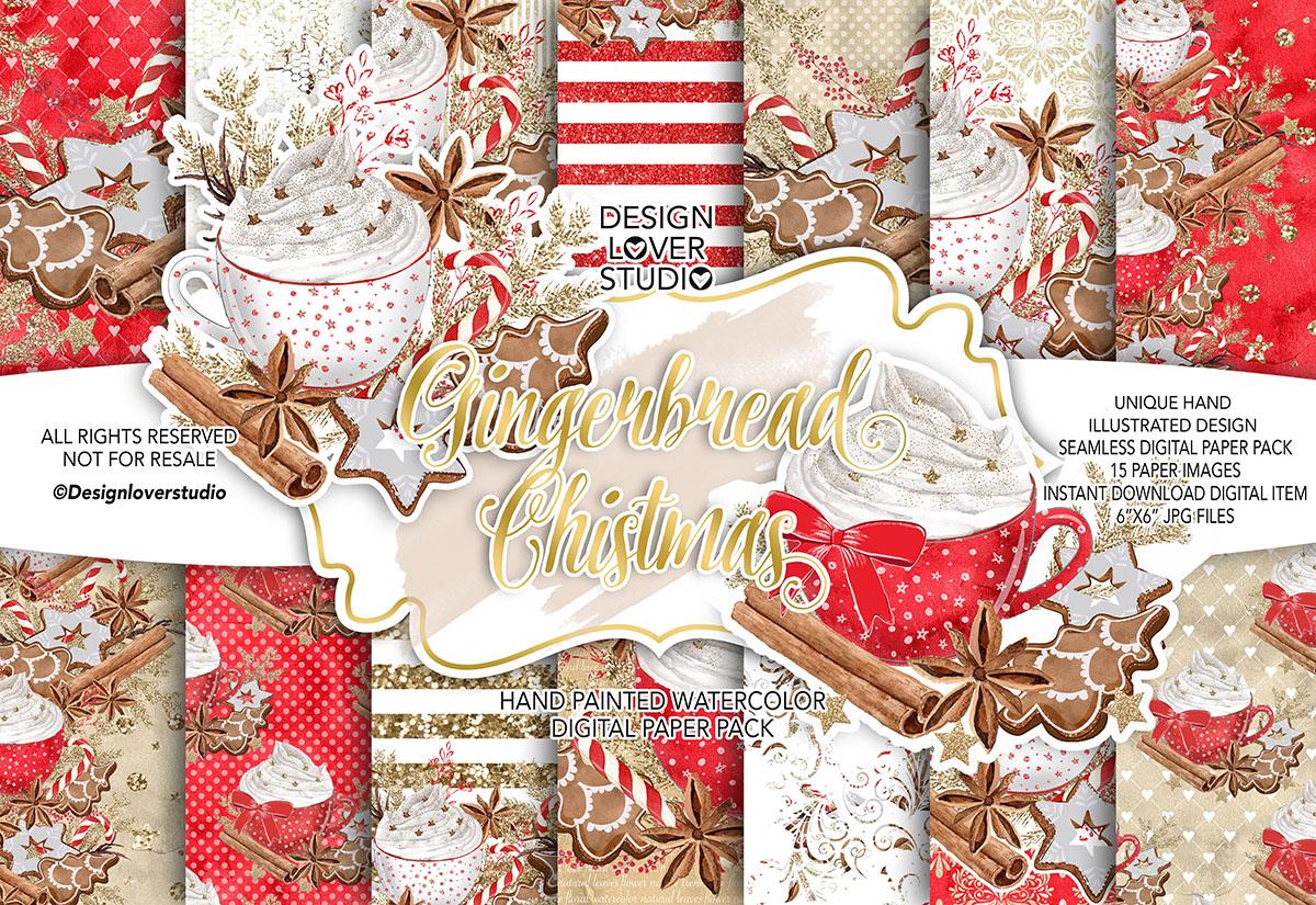 Gingerbread Cookies Christmas digital paper pack example image 1