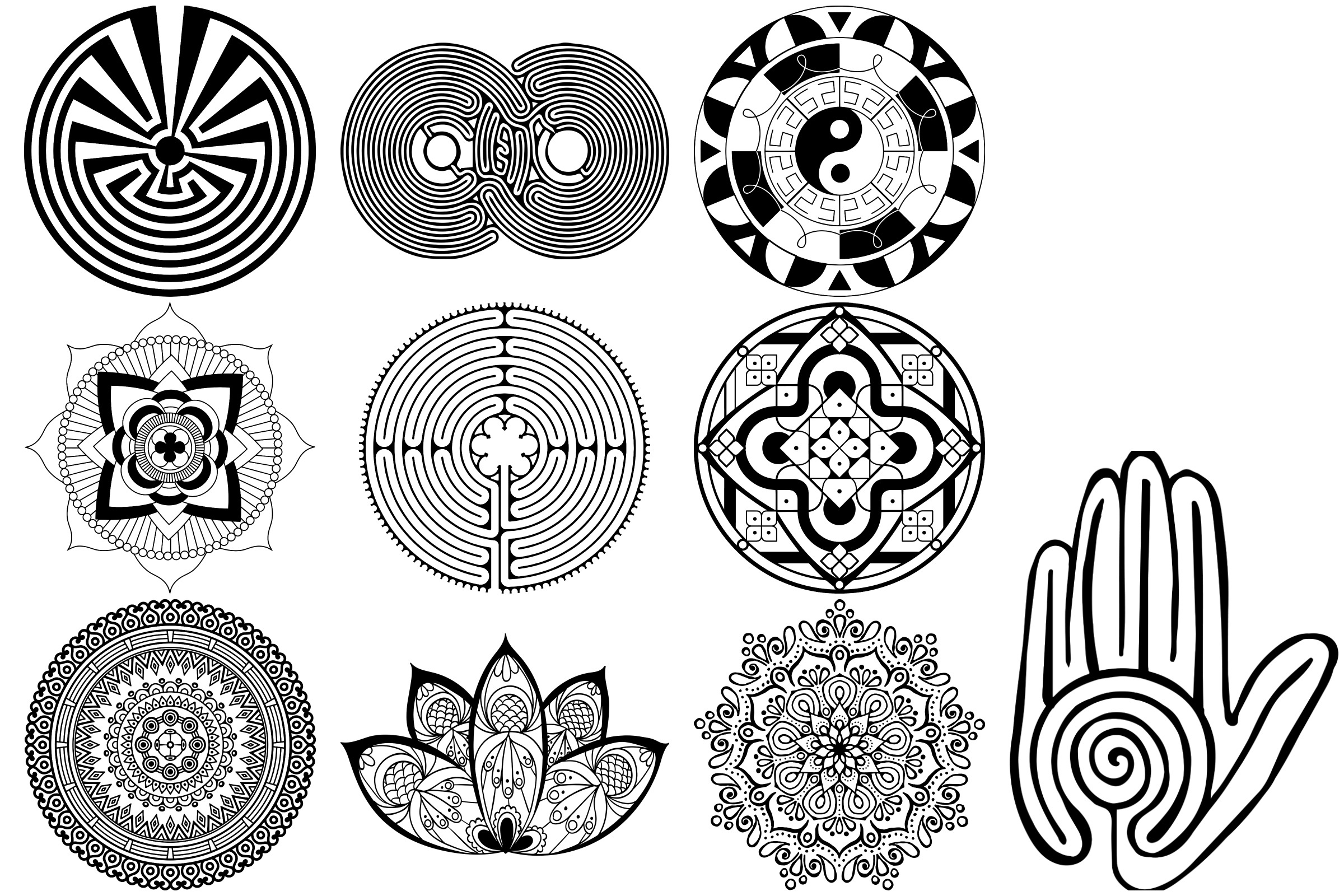 Labyrinth, Mandalas & Celtic Vectors AI EPS PNG example image 4
