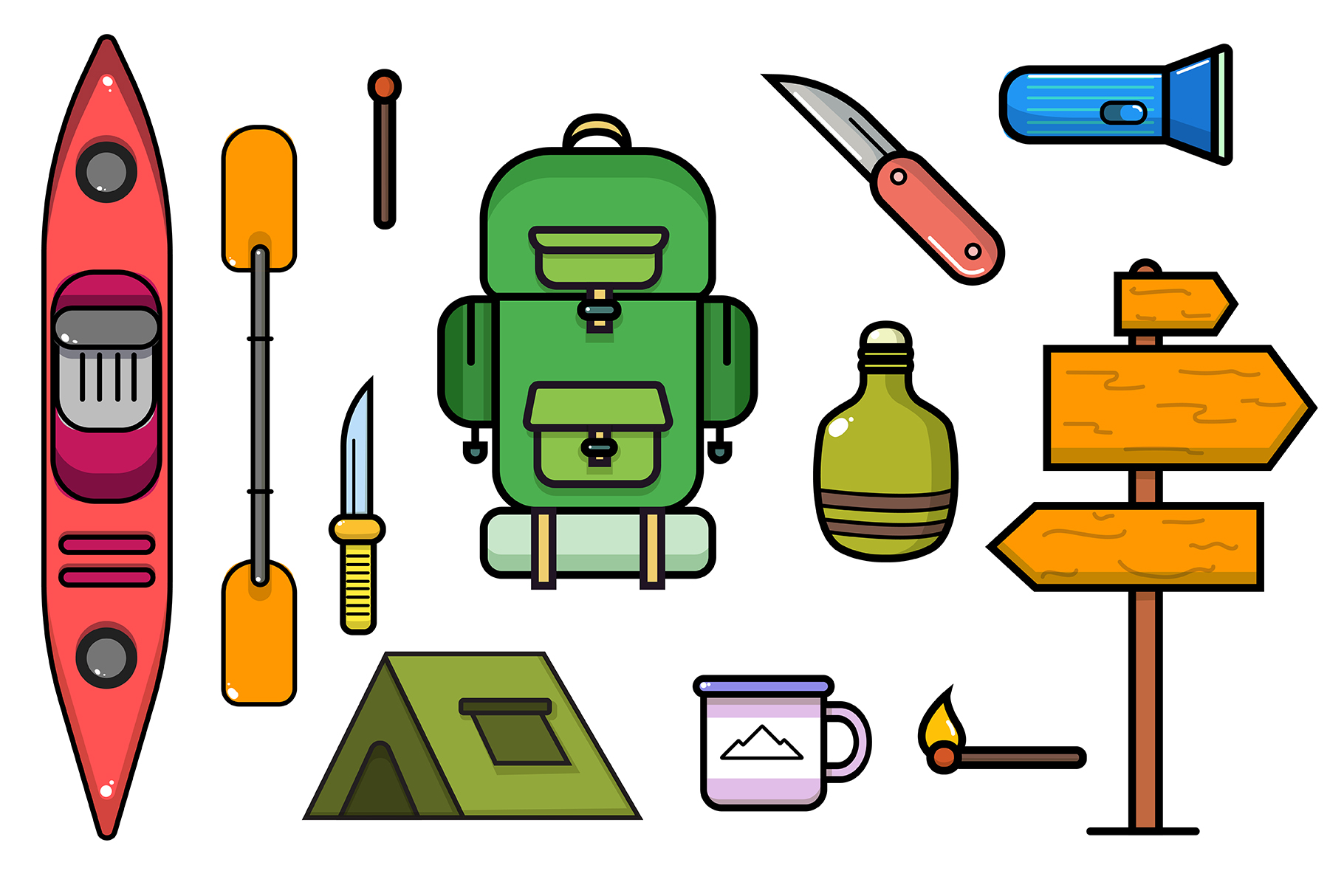 Camping and kayaking elements collection example image 1