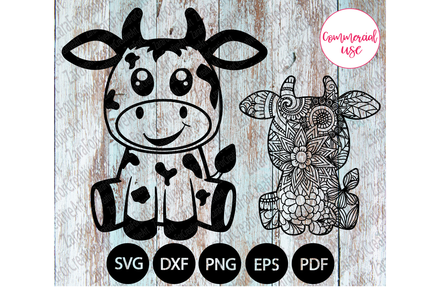 cute cow Zentangle svg example image 1