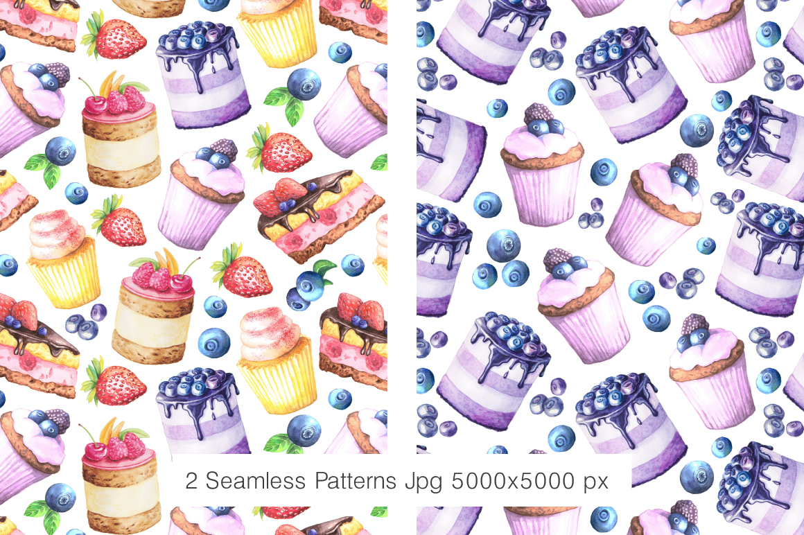 Watercolor Cakes Set example image 3