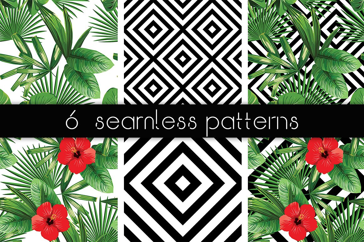 Realistic palm leaves pattern on the geometric background example image 3