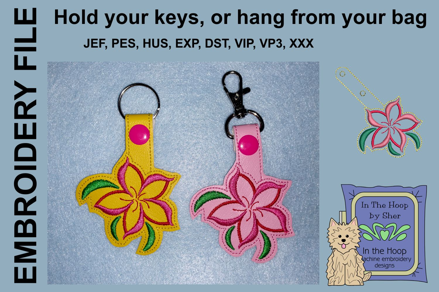 ITH Swirly Flower Vinyl Key Fob or Bag Tag - Snap Tab example image 1