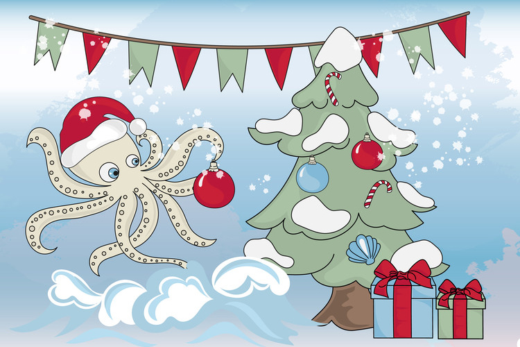 CHRISTMAS MERMAID Vector Illustration Set example image 9