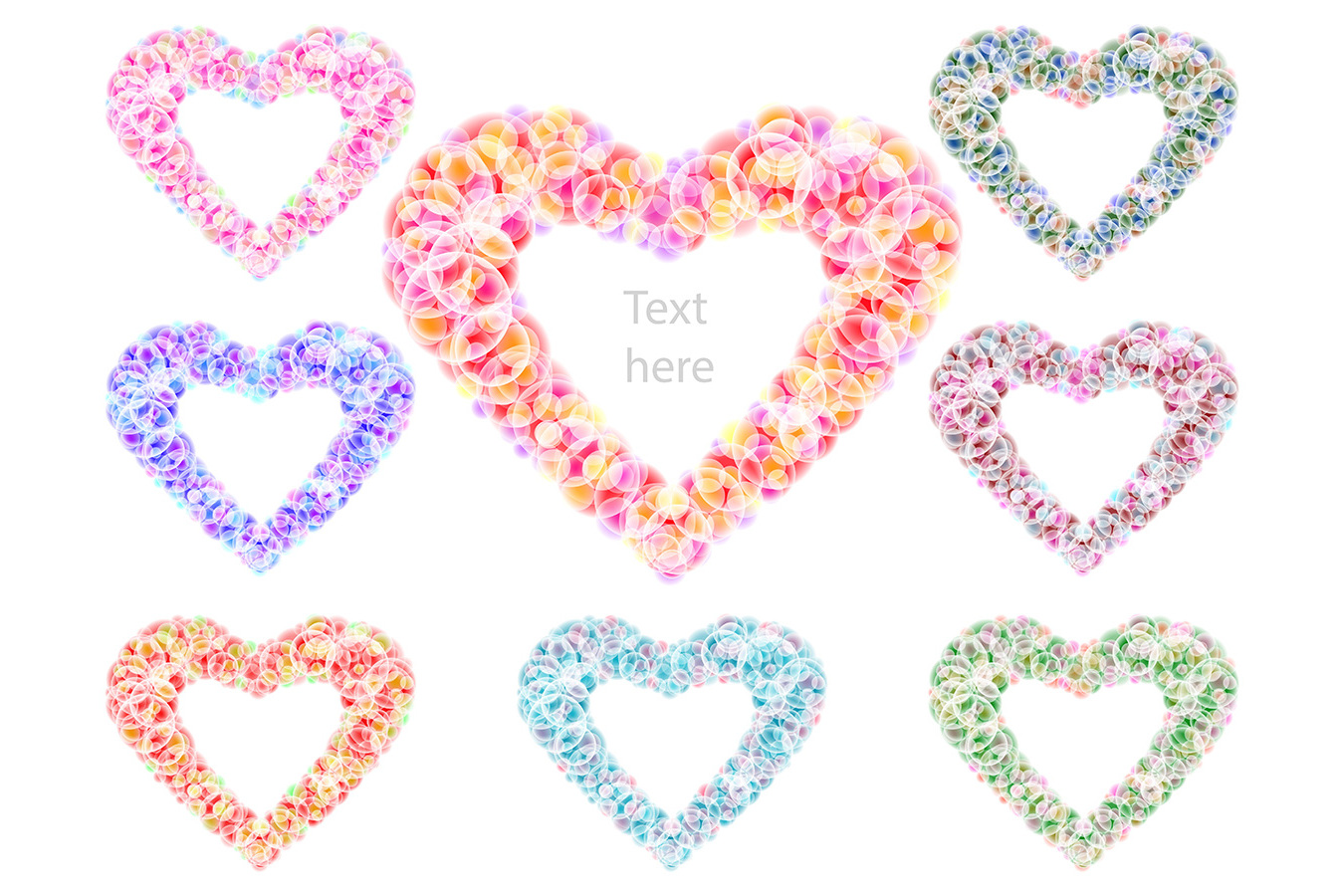 Vector Heart Love Wedding Valentines Day Frame Circle Petal Set example image 1