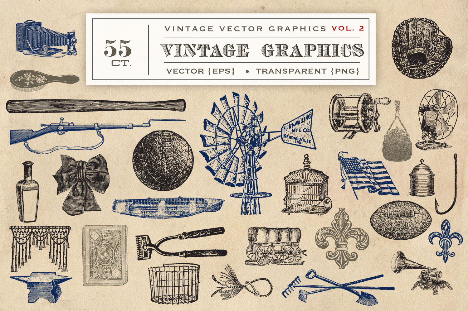 55 Vintage Vectors Graphics Vol. 2 example image 2