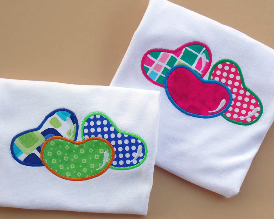 Trio of jelly beans applique embroidery design