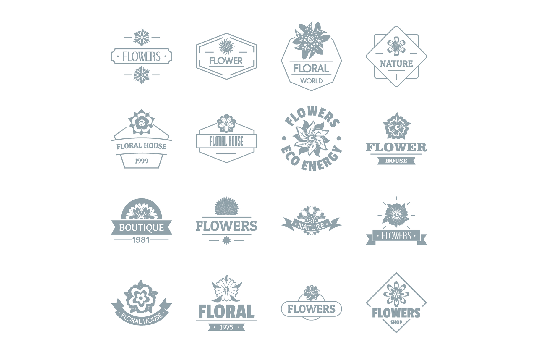 Flowers logo icons set, simple style example image 1