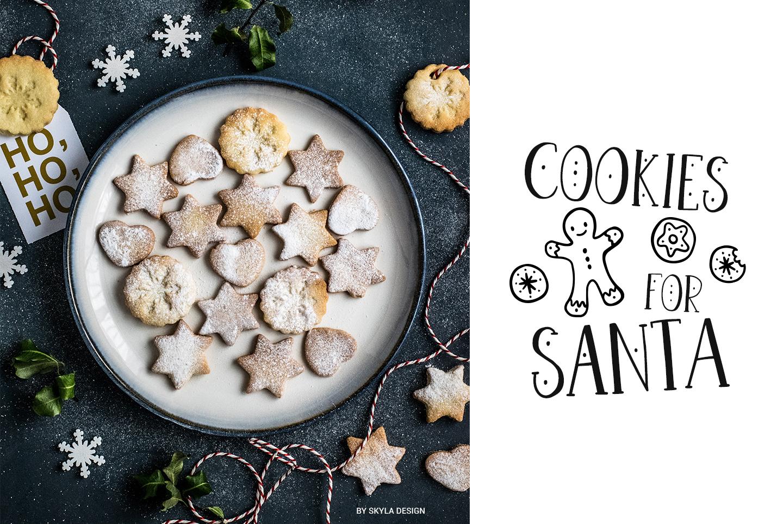 Joyeux Christmas font & Dingbat clipart illustrations example image 3