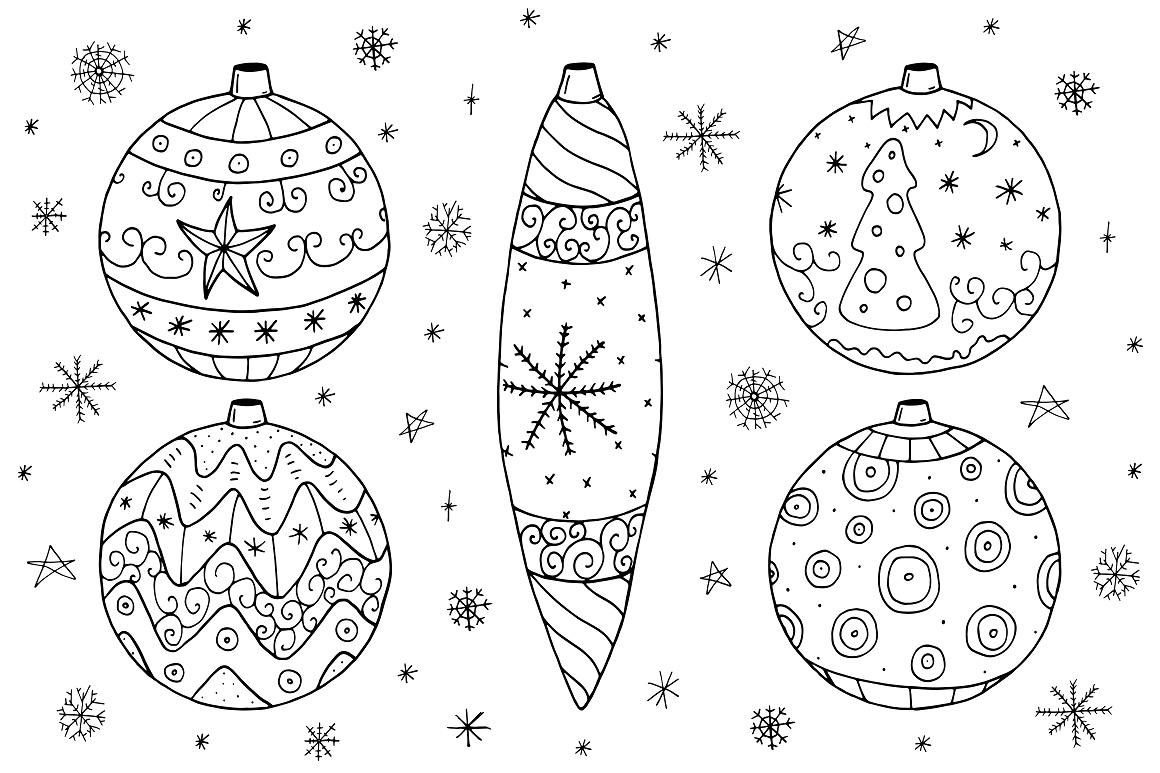 Christmas set in doodle style. example image 8