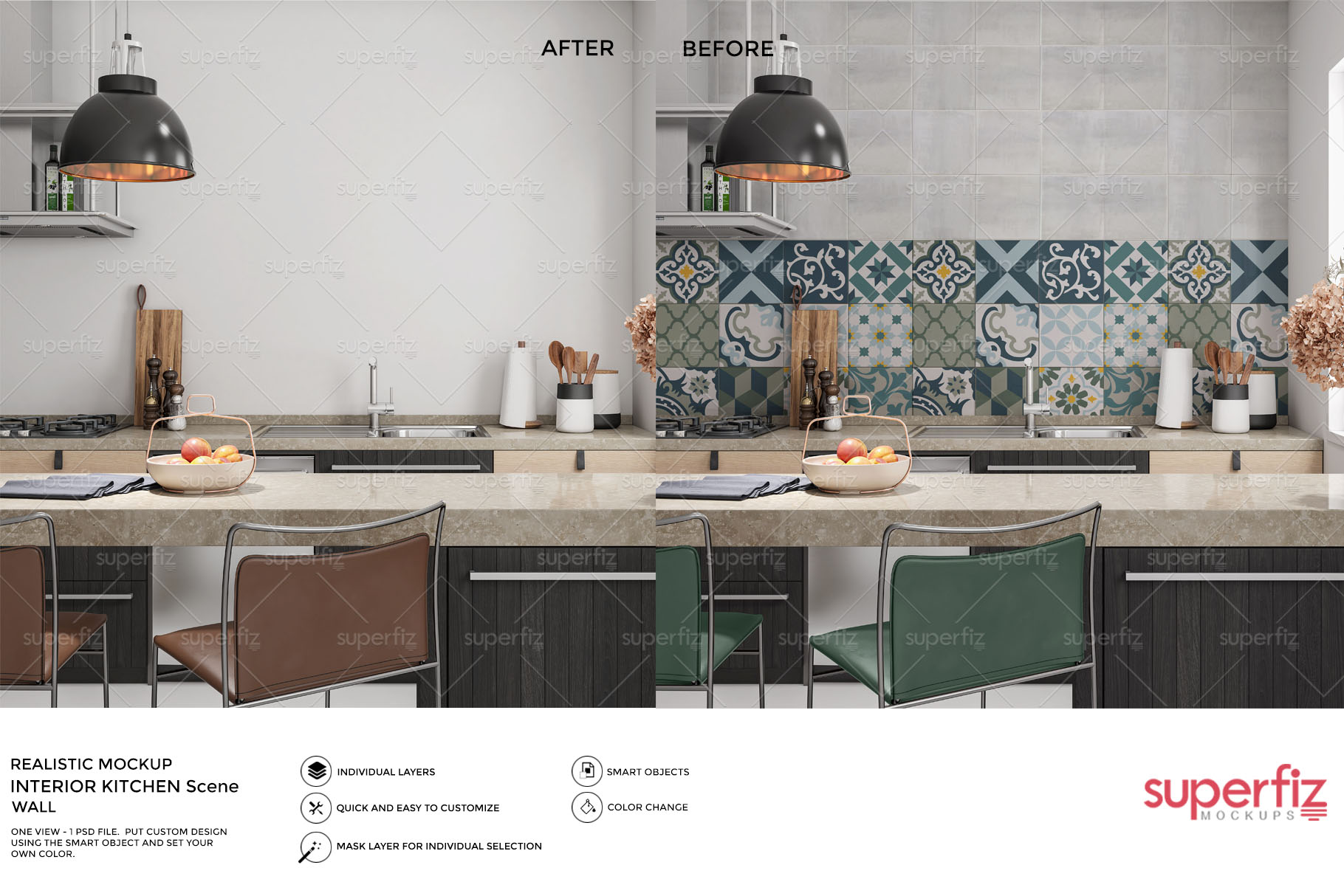 Blank Wall Kitchen PSD Mockup SM73 example image 2