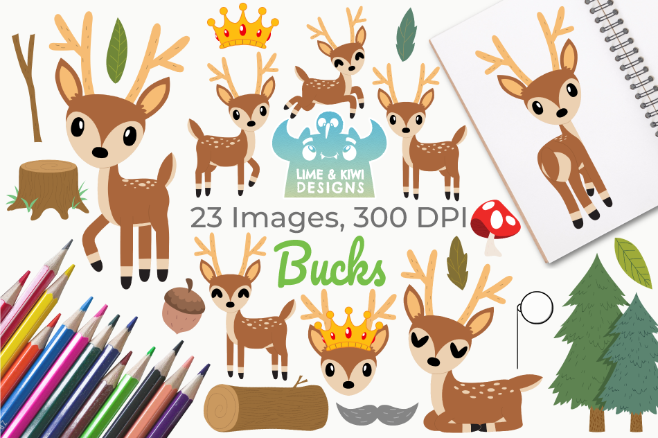 Bucks Clipart, Instant Download Vector Art, Commercial Use example image 1