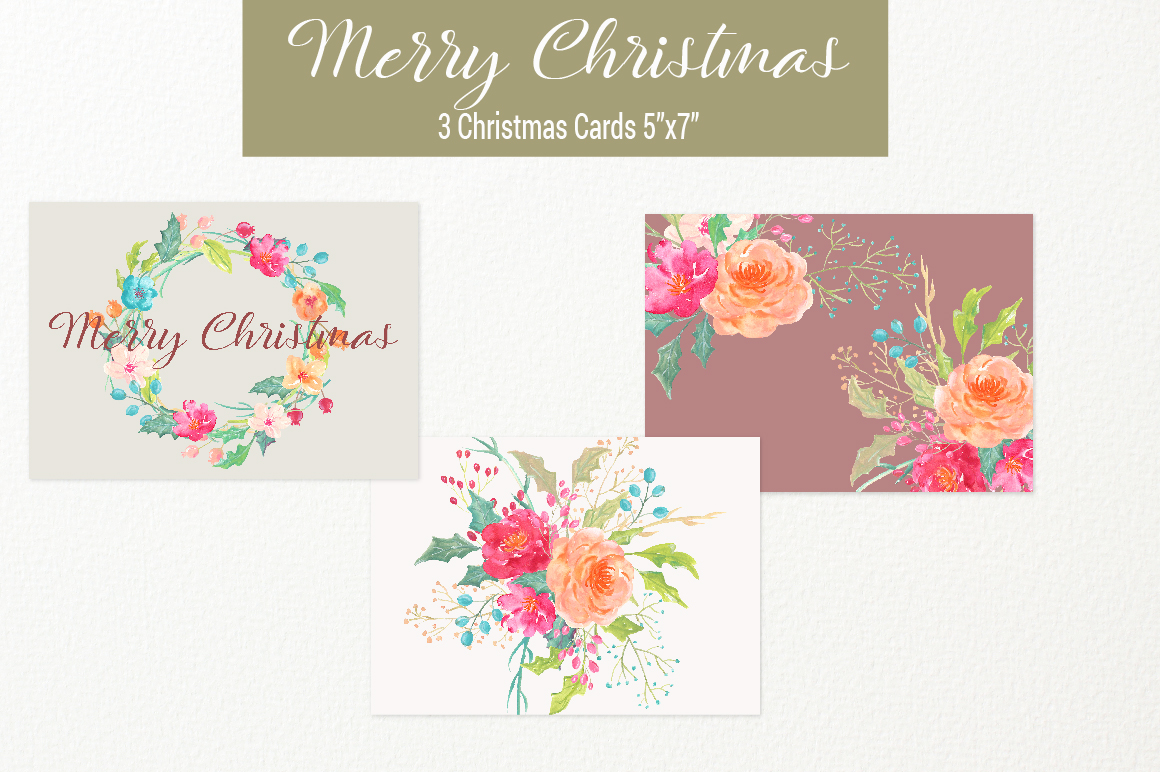 Merry Christmas Watercolor Collection example image 5