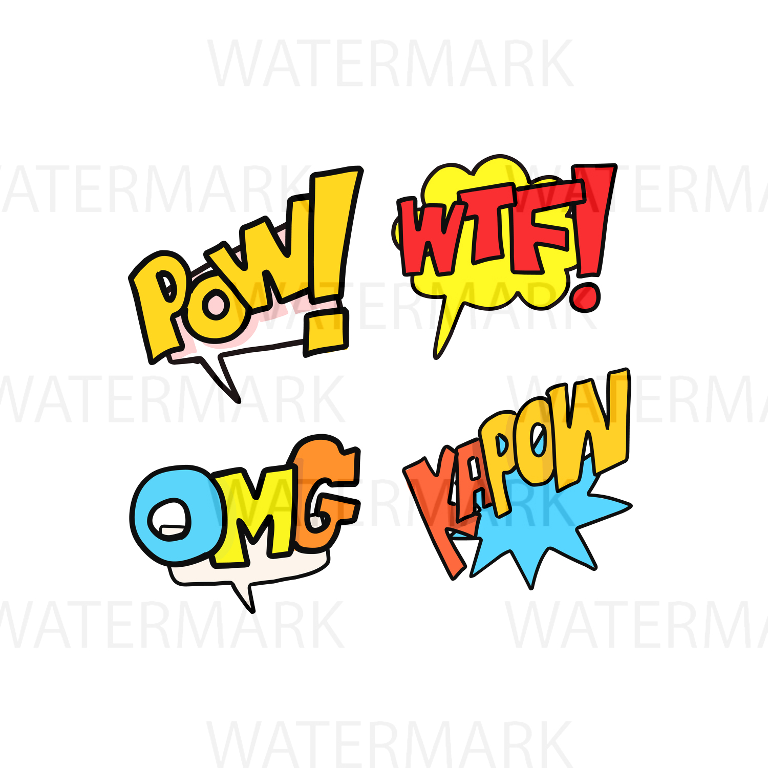 Speech Bubble Interjection Set 3 - SVG/JPG/PNG - Hand Drawing example image 1