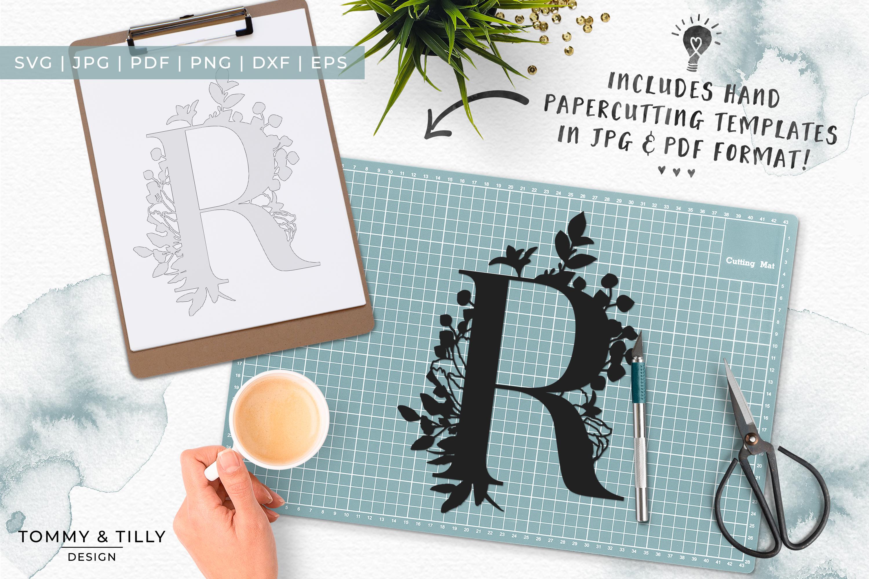 R Bouquet Letter Design - Paper Cut SVG EPS DXF PNG PDF JPG example image 7