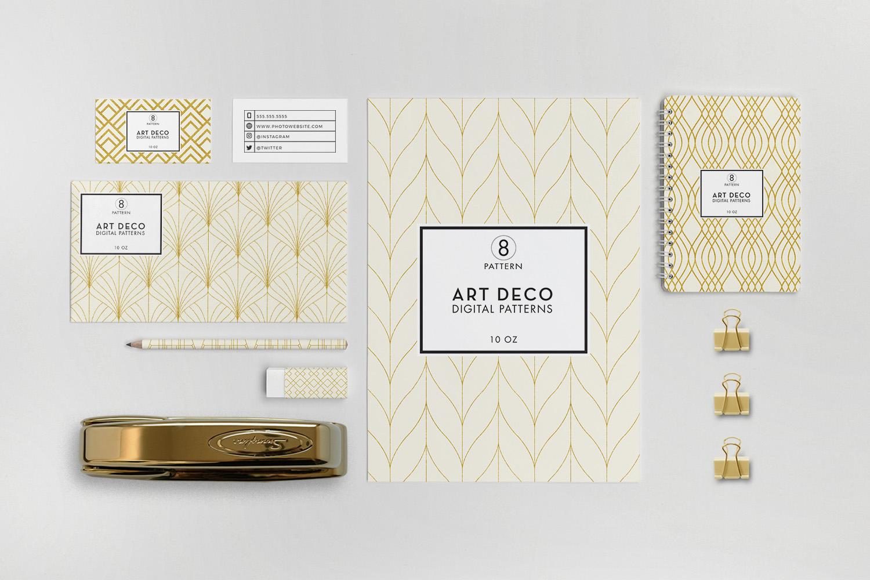 8 Seamless Art Deco Patterns - Ivory & Gold Set 1 example image 2