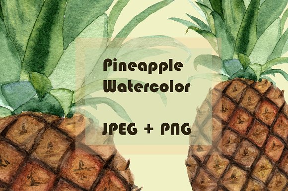 Watercolor Pineapple Clipart & Print example image 1